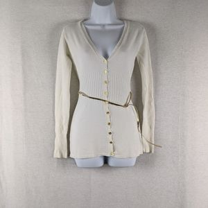 Express White and gold button down cardigan